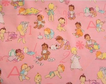 Alexander Henry Baby Gilr Fabric Pink Background By the Half Yard  Sweet Images Out of Print RARE