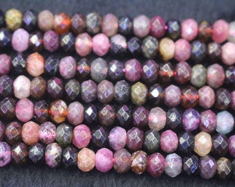 Natural Faceted Tourmaline Rondelle Beads,Tourmaline Faceted Beads,15 inches per strand