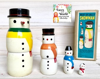 Japanese Shackman Snowman Nesting Doll Set of Four, Japanese Wooden Nesting Dolls, Primitive Holiday Decor, Christmas Nesting Dolls, MINT