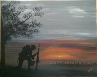 Military Oil or Acrylic Painting Art Custom