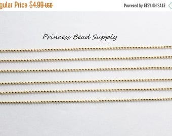 """SALE Set of 10 Gold Ball Chain Necklace 1.5mm with Connector,  27.6"""" Long Ball Chain Necklace"""
