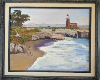 Santa Cruz Lighthouse beach, original oil painting, frame included
