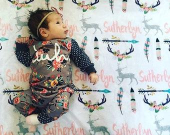 SALE! Personalize baby blanket, baby name blanket, deer blanket, arrow blanket, tribal blanket, baby girl blanket, woodland blanket