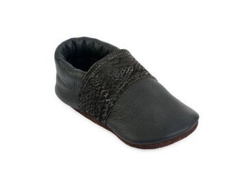 Leather Toddler Moccasins / Barefoot Shoes / Eco-friendly Funky Recycled Leather gift infant girl boy