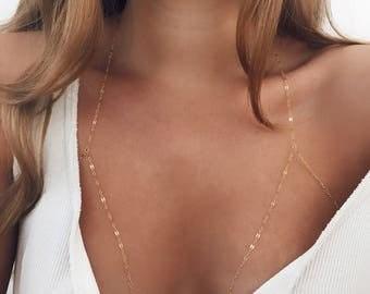 Gold Bralette Chain / Gold Chain / Delicate Body Chain / Dainty Bralette /14 KT Gold Fill / Body Jewelry / Gold Filled