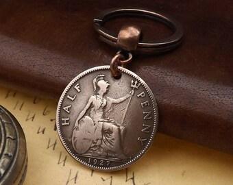 Genuine 1927 British Ha'penny Half Penny Old Vintage Coin Keychain 90th Birthday Gift
