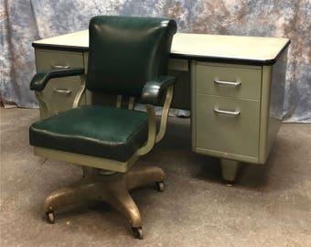 5' Mid Century 1950s Metal Office Desk Chair Danish Modern Teachers Industrial