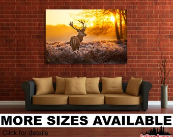 Wall Art Giclee Canvas Picture Print Gallery Wrap Ready to Hang Reindeer in Sunset 60x40 48x32 36x24 24x16 18x12 3.2