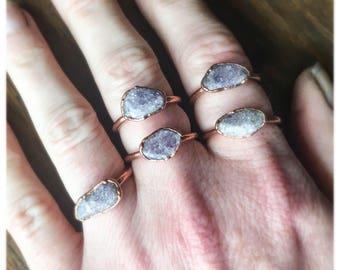 Lepidolite Ring | Stone Ring | Purple Ring | Lilac Ring | Electroform Ring | Lepidolite & Copper Ring | Crystal Ring
