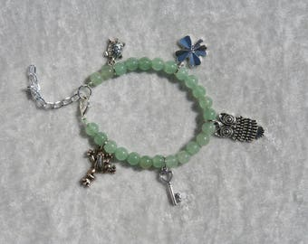 "Aventurine bracelet with charms ""lucky"""