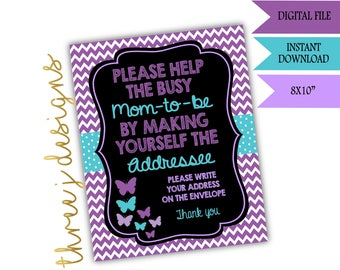 Butterfly Baby Shower Address Envelope Sign - INSTANT DOWNLOAD - Purple and Teal - Digital File - J001