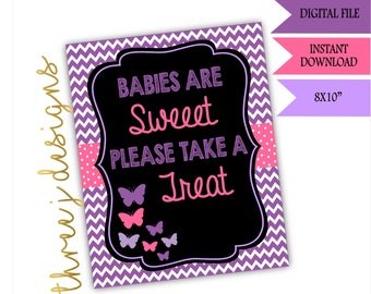 Butterfly Baby Shower Treat or Dessert Table Sign - INSTANT DOWNLOAD - Purple and Pink - Digital File - J002
