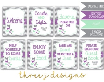 Butterfly Baby Shower Table Sign Package - Bundle of 7 Signs - INSTANT DOWNLOAD - Gray, Lavender and Mint - Digital Files - J005