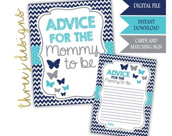 Butterfly Baby Shower Advice for the Mommy To Be Cards and Sign - INSTANT DOWNLOAD - Navy Blue, Teal and Gray - Digital File - J007