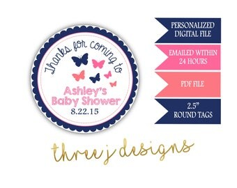 Butterfly Baby Shower Personalized Thank You Favor Tags - Navy Blue, Pink and Coral - Digital File - J003
