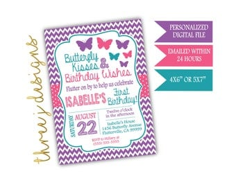 Butterfly Birthday Party Invitation - Purple, Pink and Teal - Digital File - J008