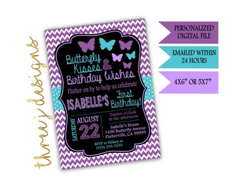 Butterfly Birthday Party Invitation - Purple and Teal - Digital File - J013