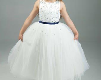 Navy Flower Girl Dress -- Navy Floor Length Tulle Dress -- Girls Tulle Dress