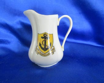 W.H.Goss Crested Ware Water Jug/Pitcher (Porthcawl Crest) Bone China