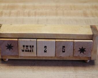 Hand made wood block perpetual desk calendar