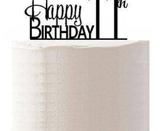 Happy 11th Birthday Agemilestone Elegant Cake Topper