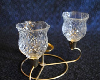 Set of 4 tea light glass candle holders which fit into tapered candle holders