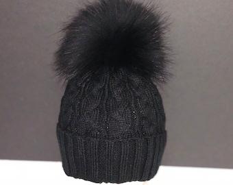 Black Fur Pom Ribbed Foldover Knit Hat - Knit Hat with Raccoon Fur Pom - Adult Size Hat