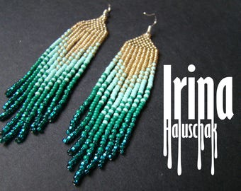 SUPER PRICE! Beaded earrings, seed bead earrings, modern earrings, boho earrings, fringe earrings, bead gradient from light gold to emerald