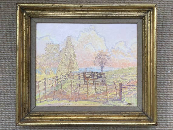 """Maurice Sheppard NEAC PPRWS, British.b1947- """"A Corner of the Field-Valley of (Boulonnais) Denacre"""", oil on board, signed, 23.6x28.8cm"""