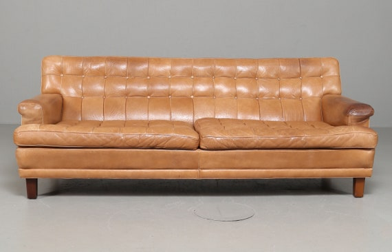 Mid century Swedish Arne Norell 'Mexico' Buffalo skin tan leather three person sofa circa 1970's