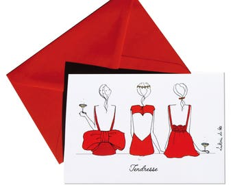 Folded card tenderness, girls back red envelope.