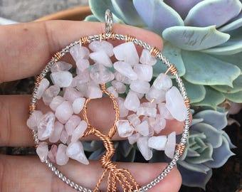 Wire Wrapped Rose Quartz Tree Of Life Pendant
