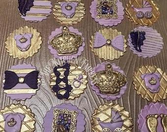 1 Dozen Royal Princess Themed Cupcake Toppers