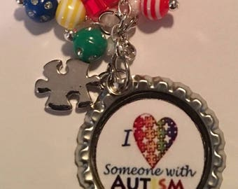 Autism Awareness Bottle Cap Keychain