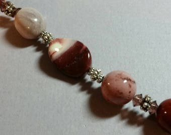 Mookaite Gemstones and Crystal Stethoscope ID Jewelry Bling