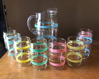 Vintage mid century Pitcher and 8 glass set