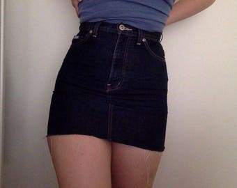 Dark Denim Reworked Raw Hem High Waisted Mini Skirt