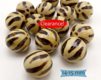 "Tiger Stripe ""Burnt"" Wood Beads—5 Pcs.--40% OFF | 36-W1315-5"