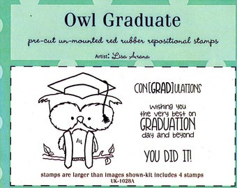 Owl Graduate Rubber Stamp Kit - by Unity Stamps & artist Lisa Arana - 4 stamps total -