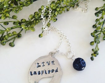 Hand Stamped Lava Necklace