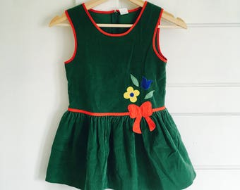 Vintage Young Girls Green Corduroy Dress / Size 6 Floral Sleeveless Dress