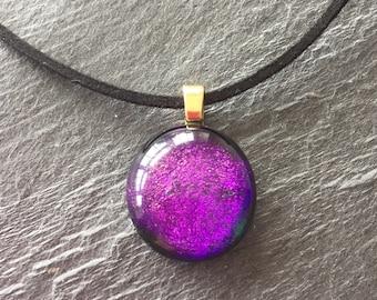 Violet pendant, dark purple pendant, gift for her, small purple pendant, purple glass pendant, dichroic glass pendant, dichroic glass