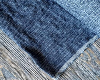 Washed dark blue striped linen fabric by the meter, tissu au metre flax fabric with stripes, striped stonewashed linen fabric by the yard