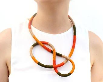 Multicolor Orange Yellow Statement Necklace Bracelet Textile knot necklace statement Multistrand Orange Wrap Necklace Bracelet Textile