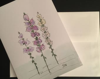 Flowers/Handpainted Watercolor Greeting Card