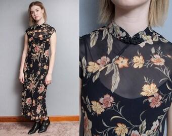 Vintage 1990's I Black I Sheer I Floral I Mandarin Collar I Dress I S