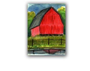 Red Hay Barn Farm Country Baby Nursery llmartin Original ACEO New Mom Grandma Miniature Watercolor Father Dad Free Shipping USA Child