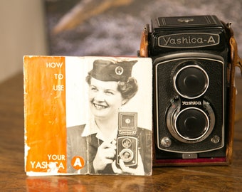 Yashica-A Twin Lens Camera with Leather Case & Manual -  Nice Condition!