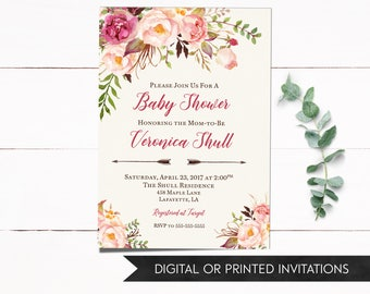 Floral Baby Shower Invitation, Baby Shower Invitation, Girl Baby Shower Invitation