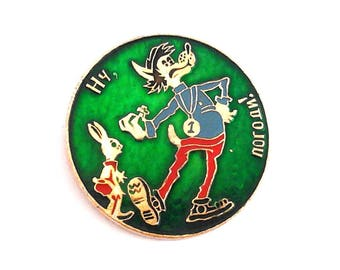 "Vintage Soviet pin badge - Wolf with Hare, characters of Russian cartoon"" Nu Pogodi !""/ Made in USSR, 1980s."